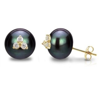 DaVonna 14k Yellow Gold CZ Flower Charms Button Shape 11-12mm Black Freshwater Pearl Stud Earrings
