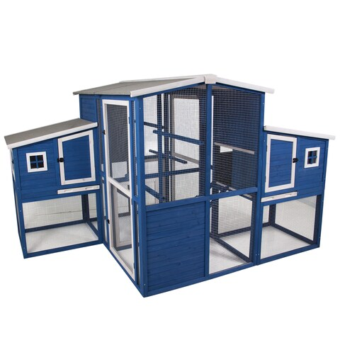 Precision Dual Nesting Box Chicken Coop - Blue/White
