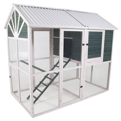 Precision Pet Sunrise Walk-in Chicken Coop with Nesting Box and Roosting Bar - Green/White