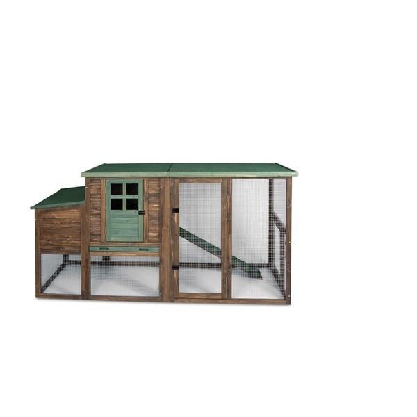 Precision Pet Hen House II Chicken Coop - natural wood/green