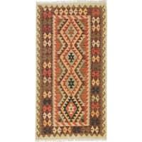 Ecarpetgallery Hand-Woven Kashkoli Kilim Orange Wool Rug (3'7 x 6'11)
