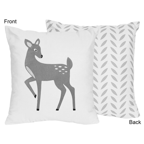 Sweet Jojo Designs Forest Deer/Grey Leaf Print 16-inch Reversible Accent Throw Pillow