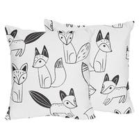 Sweet Jojo Designs Black/White Fox Collection 18-inch Accent Throw Pillows (Set of 2)