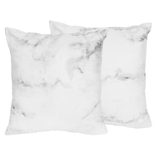 Sweet Jojo Designs Black and White Marble Collection 18-inch Accent Throw Pillows (Set of 2)