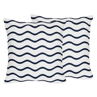 Sweet Jojo Designs Blue Whale Collection Chevron Wave Print 18-inch Accent Throw Pillows (Set of 2)