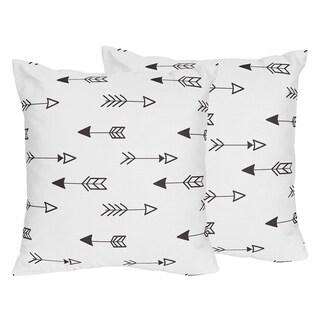 Sweet Jojo Designs Black/White Fox Collection Arrow Print 18-inch Accent Throw Pillows (Set of 2)
