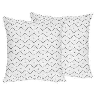 Mod Dinosaur Collection Grey Chevron Prehistoric Print Accent Throw Pillows (Set of 2)
