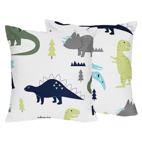 Sweet Jojo Designs Blue and Green Mod Dinosaur Collection Microfiber 18-inch Accent Throw Pillows (Set of 2)