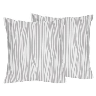 Sweet Jojo Designs Grey and White Stag Collection Wood Grain Print 18-inch Accent Throw Pillows (Set of 2)