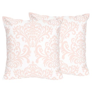 Sweet Jojo Designs Amelia Collection Pink/White Damask Print 18-inch Accent Throw Pillows (Set of 2)