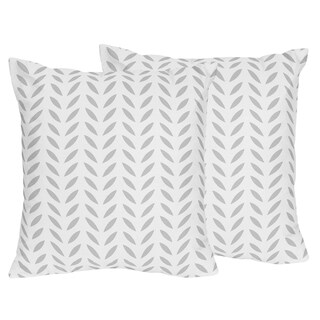 Sweet Jojo Designs Forest Deer Collection Grey Leaf Print 18-inch Accent Throw Pillows (Set of 2)