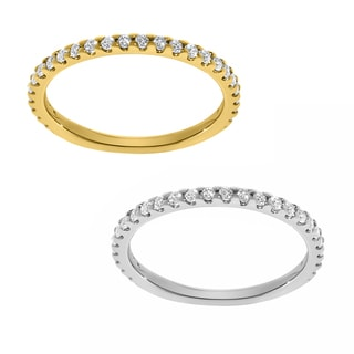 14k Yellow or White Round-cut Cubic Zirconia Single Row Band
