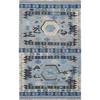 ECARPETGALLERY Hand-woven Esme 300068 Blue Wool Kilim Rug