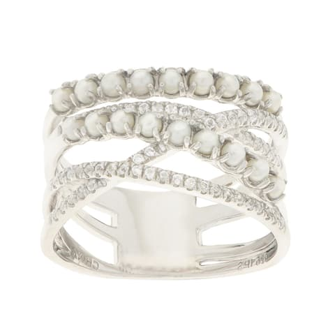 Pearls For You Sterling Silver White Freshwater 2 to 2.5-millimeter Seed Pearl and White Topaz Ring