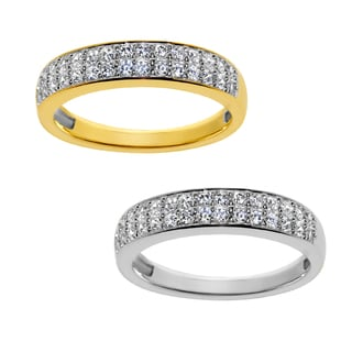 14k Yellow or White Gold 2 Row Pave-Set Cubic Zirconia Ring