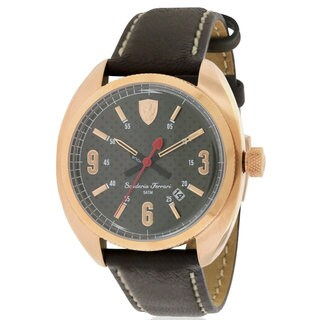 Ferrari Scuderia Sportivo Black Leather and Goldtone Stainless Steel Men's Watch