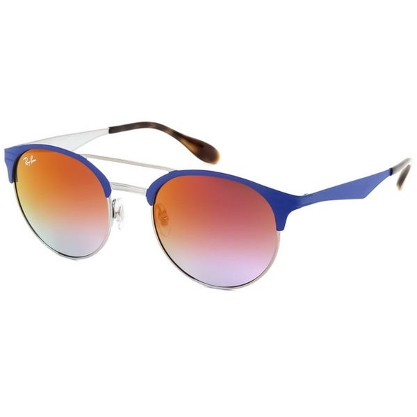 1ee1101070a3e Ray-Ban Unisex RB3545 9005A9 51 Round Metal Plastic Blue Violet Sunglasses