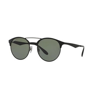 Ray-Ban Unisex RB3545 186/9A 51 Round Metal Plastic Black Green Sunglasses