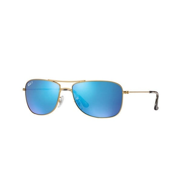 887a146532 Ray-Ban Unisex RB3543 112 A1 59 Aviator Metal Plastic Gold Blue Sunglasses