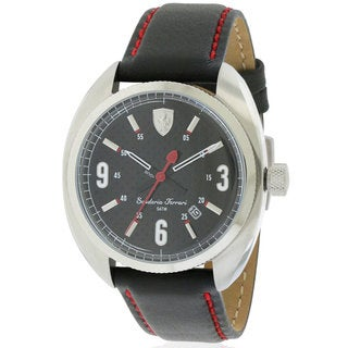 Ferrari Scuderia Sportivo Black Leather and Stainless Steel Men's Watch