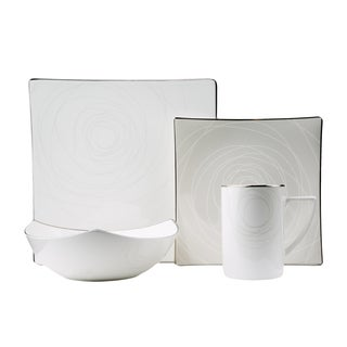 Red Vanilla Orbit White and Gold Bone China 4-piece Place Setting (Service for 1)