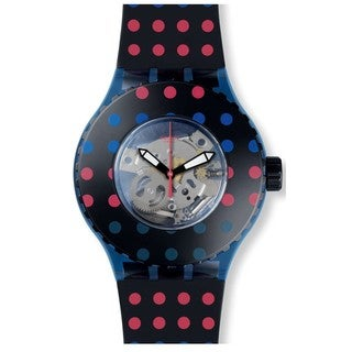 Swatch Black and Multicolor Silicone and Plastic Puntamiblu Women's Watch