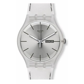 Swatch Resolution Women's Silver Silicone Watch
