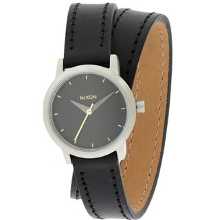 Nixon Kenzi Women's Black Leather Stainless Steel Wrap Watch
