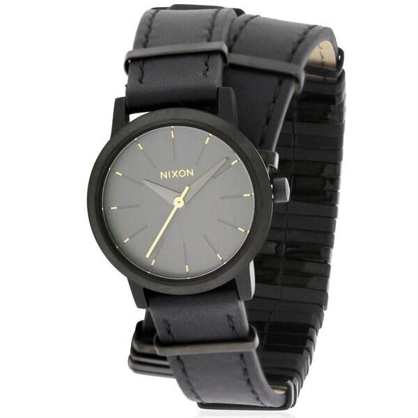 Nixon Kenzi Women's Black Leather Stainless Steel Watch
