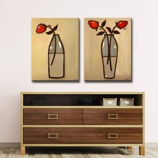 Minimalist Rose I/II' by Norman Wyatt, Jr. 2-Piece Canvas Wall Art Set