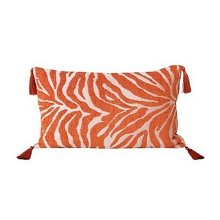 Thro by Marlo Umber Izzy Zebra Print Tassels Throw Pillow