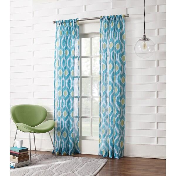 No. 918 Marquez Blue Semi-sheer Print Rod-pocket Window Panel