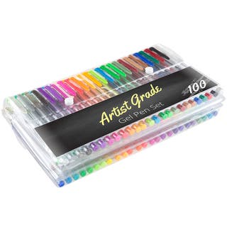 Color Gel Pen Set 100 Count for Adult Coloring Scrapbooking Doodling Comic Animation by Artist Grade