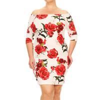 Women's Plus-size Floral Bodycon Mini Dress