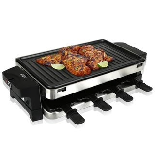 NutriChef PKGRST42 Raclette Grill, Two-Tier Party Cooktop, Metal Grill Surface