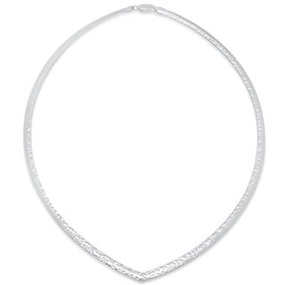 Sterling Essentials Silver Multi-Finish Reversible V Shape 4 mm Omega Necklace, (16-18 Inch )