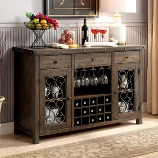 Furniture of America Chester Traditional Scrolled Metal Multi-Storage Rustic Walnut Dining Server