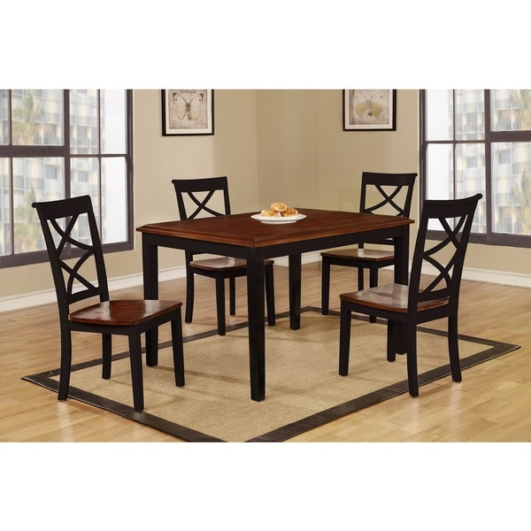shop baum 5 piece two tone wood dining set free shipping today 14602601. Black Bedroom Furniture Sets. Home Design Ideas