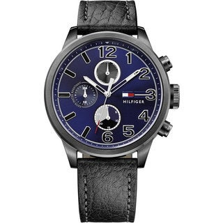 Tommy Hilfiger Black and Blue Leather and Stainless Steel Chronograph Men's Watch