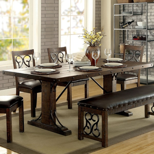 Furniture of America Chester Traditional Scrolled Metal Rustic