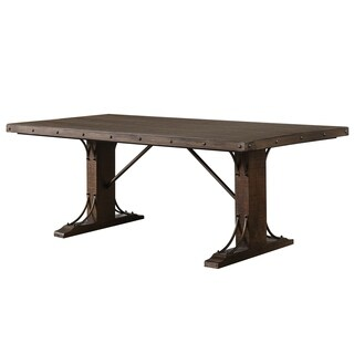 Furniture of America Chester Traditional Scrolled Metal Rustic Walnut Dining Table