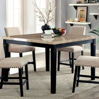 Furniture of America Denilia Contemporary Faux Marble Black Counter Height Table