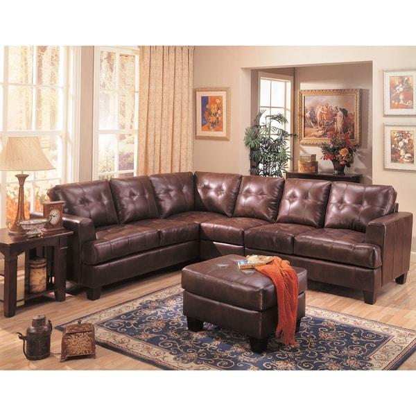 Samuel Dark Brown Bonded Leather Sectional Sofa