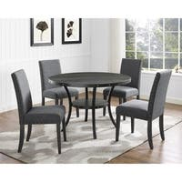 Biony Espresso Wood Dining Set with Fabric Nailhead Chairs