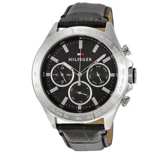 Tommy Hilfiger Men's Hudson 1791224 Black Leather and Stainless Steel Chronograph Watch