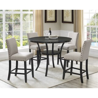 Biony Espresso Wood Counter Height Dining Set with Fabric Nailhead Stools