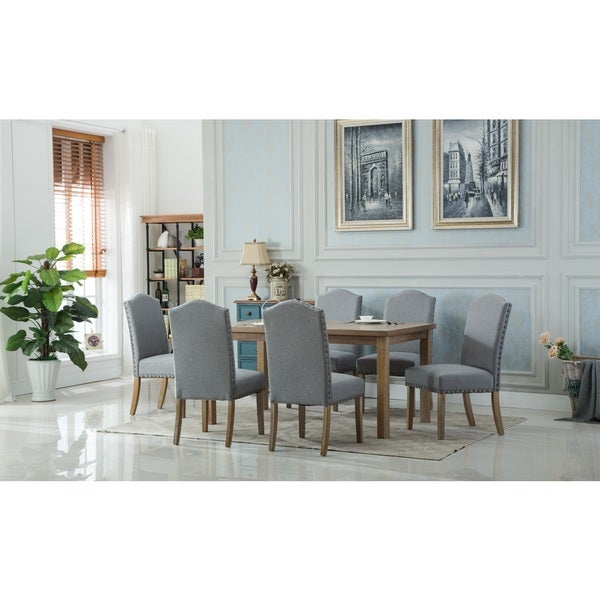Monotanian Solid Wood Dining Table with 6 Nailhead Trim Chairs