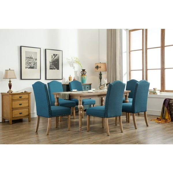 Habitanian Solid Wood Dining Table With 6 Nailhead Chairs