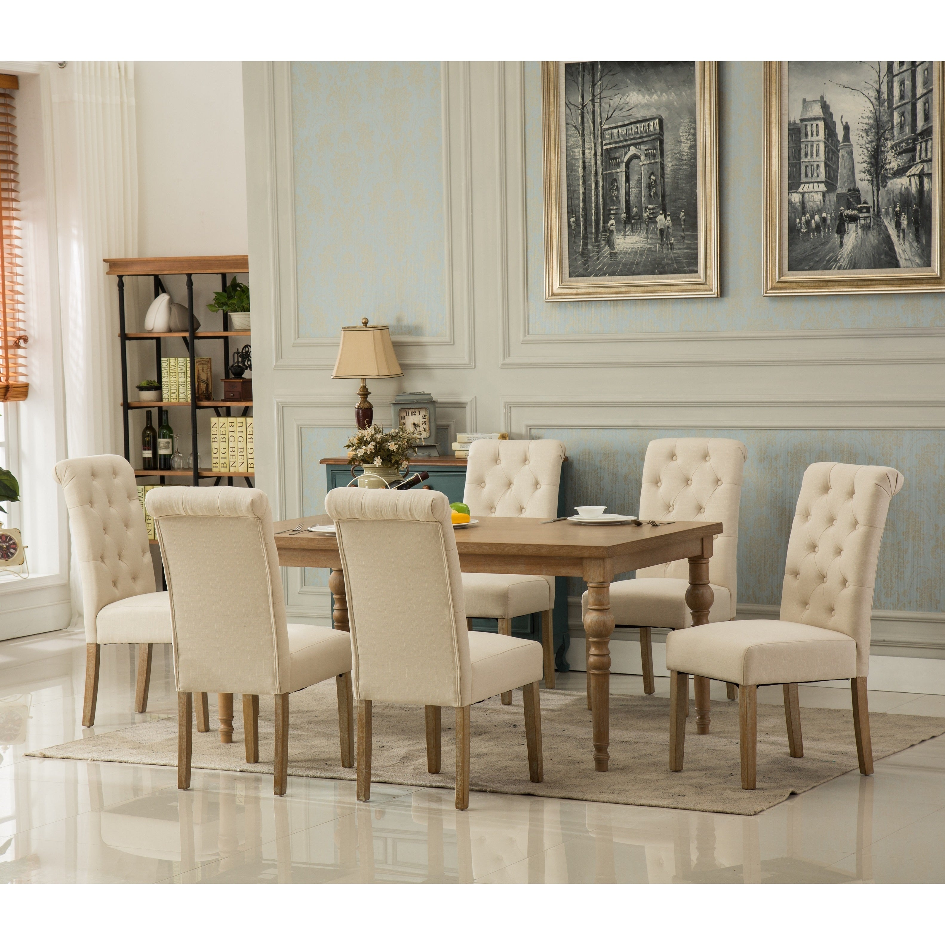 Habitanian Solid Wood Dining Table With 6 Button Tufted Chairs
