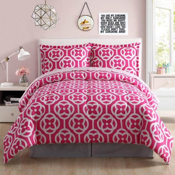Meili Pink Block Flower Microfiber Bed in a Bag